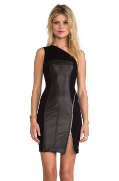 Cut25 by Yigal Azrouel One Shoulder Leather Combo Dress in Jet from REVOLVEclothing