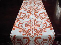 Orange Table Runner Damask Floral Runner By Exclusiveelements