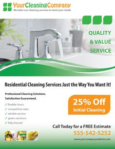 Promote your cleaning company with this house cleaning services flyer template. We will customize this flyer with your business information and images.