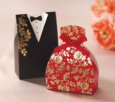 Wedding favour - I like this better than the traditional bride and groom outfit box http://www.ebay.com.au/itm/50-Bride-Groom-Asian-Wedding-Bomboniere-Favour-Boxes-Tuxedo-Dress-Ribbon-/261308028587?
