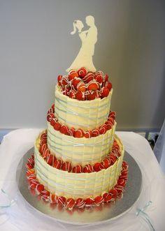 Chocolate shard Cakes | aqua blue ribbon on white chocolate plate / shard wedding cake