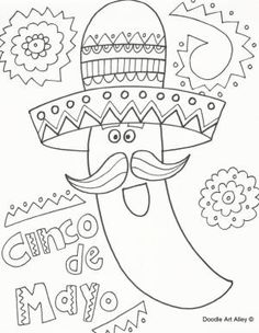 Cinco de Mayo Coloring Pages - Doodle Art Alley Doodle Art, Pages Doodle, Spring Coloring Pages, Coloring Pages For Kids, Coloring Sheets, Kids Coloring, Coloring Books, Color Activities, Holiday Activities