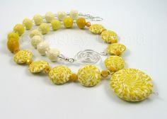 Sunshine Yellow Swirls polymer clay beaded by PaisleyLizardDesigns