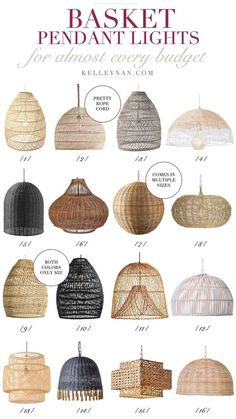 The best affordable woven basket pendant lights for the kitchen (or any room!) lighting 16 Basket Pendant Lights to Fit Any Style: Trending Dining Room Light Fixtures, Dining Room Lighting, Rustic Lighting, Bedroom Lighting, Kitchen Lighting, Bedroom Decor, Rattan Light Fixture, Club Lighting, Ikea Lighting