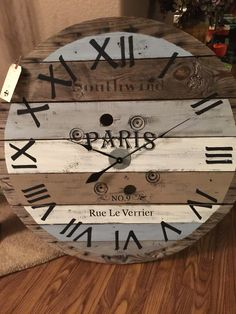 """Giant spool clock for sale 40"""" at 199.00. Plus shipping"""