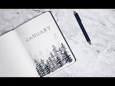Minimalist bullet journal - January 2018 (Winter theme) - YouTube