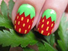 Strawberries #strawberry #strawberries #berry #berries #manicure #pedicure #fingernail #finger #nail #polish #paint #lacquer