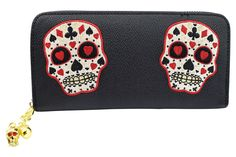 Banned Rockabilly Deck of Cards Skull Embroidered Zip Around Wallet