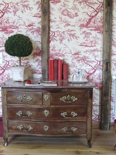 "TOILE AND BEAMS!!! (if they can be called beams)  I think the wood breaks up the ""sweetness"" of the toile...Cover the plaster walls...."