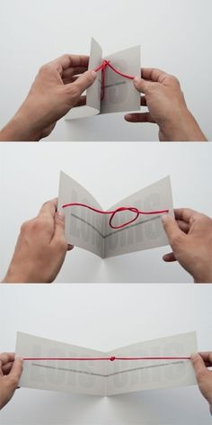 This made us smile.    We love that the simple act of opening the card, ties the knot. The wedding guests are metaphorically helping the bride and groom get married or tie the knot.    A clever idea, a pretty card, and a sweet reminder that the success of a couples marriage depends in part on the support of their loved ones and their community.