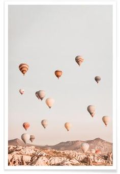 Photo art poster in soft pastel tones with a dreamy motif of colourful hot air balloons which drift freely over pointy mountain Morning Sun, Art Mural, Kunst Portfolio, Desenio Posters, Window Poster, Lion Poster, Foto Poster, Poster Store, Amalfi Coast