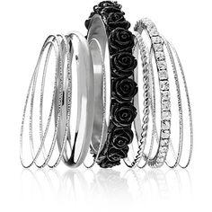 Avenue Floral Bangle Set found on Polyvore featuring jewelry, bracelets, black, plus size, hinged bangle, bracelets & bangles, black bracelet, black jewelry and black rhinestone bracelet