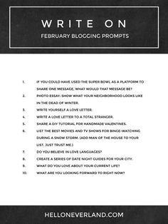 Write on: February blogging prompts | Hello Neverland