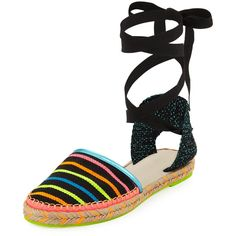 Sophia Webster Juana Ribbon Stripe Espadrille featuring polyvore, women's fashion, shoes, sandals, black, shoes espadrilles, black flat shoes, braided sandals, black sandals, ankle strap d orsay flats and black espadrille flats