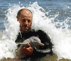A 7 day old Baby Dolphin rescued...How many likes for this man?!!!