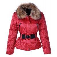 Moncler Popular Decorative Belt Jackets Women Down Red