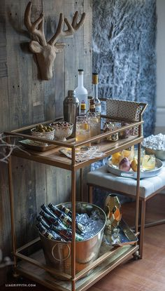 A home bar is one of the most fun places in the house, and it's a great area to add a pop of color—whether in the cabinetry, stools, walls or art. Check out 33 custom home bar design ideas. All styles, sizes and materials. Diy Bar Cart, Gold Bar Cart, Bar Cart Decor, Bar Trolley, Drinks Trolley, Bar Carts, Bar Redondo, Happy Hour, Serving Cart On Wheels
