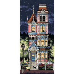 Add Victorian charm to your home with a counted cross stitch kitNeedlework set features adorable Victorian house patternCross stitch set includes cotton thread 18-count navy Aida thread