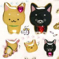 kawaii dog Epoxy stickers with black and brown dogs