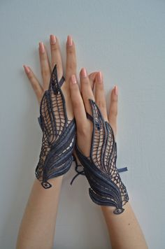Navy Blue lace gloves burlesque steampunk noir gypsy por newgloves, $40.00