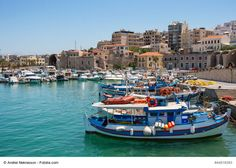 Heraklion (Iraklion) Port, Crete, Greece - This is the largest city of Crete and one of the most dynamic in Greece. It's a place of rich history, unique cultural scene and ideal to soak up the sun and relax on its amazing beaches.