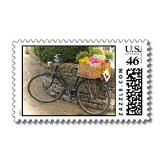 Vintage Bicycle Laden with Pretty Flowers US Postal Stamps