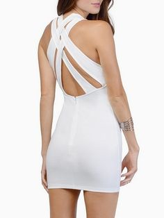 Plain Cross Straps Courtlike Bodycon Dress #ClothingOnline #PlusSizeWomensClothing #CheapClothing #FashionClothing #womenswear #sexydress #womensdress #womenfashioncasual #womensfashionforwork  #fashion #womensfashionwinter