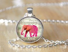 Elephant Necklace  Pink Elephant Altered by ShakespearesSisters, $10.00
