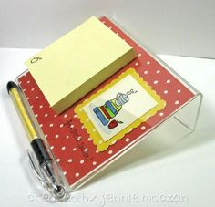 Decorate an acrylic frame and add post it's for a desktop gift