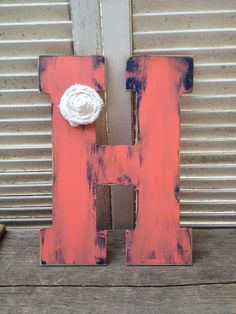 Wooden Coral and Navy Blue Letter H Shabby Chic by SouthernSupply