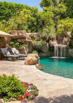 Amazing Swimming Pools, Natural Swimming Pools, Cool Pools, Backyard Pool Designs, Ponds Backyard, Dipping Pool, Swiming Pool, Natural Pond, Pool Waterfall