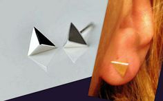 Small Stud, silver plated,Unisex Pyramid Earrings from CamelysUnikatBijoux by DaWanda.com