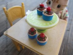 DIY Tiny Cupcakes from Furniture Plugs and Beads
