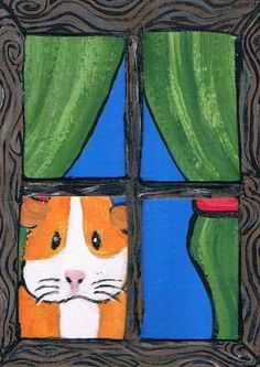 ACEO Original Guinea Pig Art Painting Guinea Pig by KimbasCritters