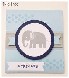 Gutschein zur Geburt, Stampin Up!, Zoo Babies, Itty Bitty Banners, a gift for baby