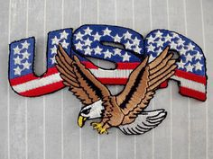 """New 4.5"""" Iron On USA Bald Eagle Patch USA Stars and Stripes Patch American Flag Patriotic Patch Embroidered Flying Eagle Veteran Biker Gift"""