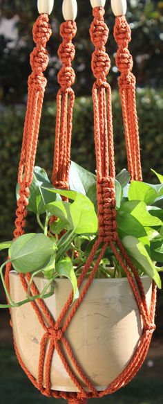 CROWNE ROYALE - Orange Handmade Macrame Plant Hanger Holder with Wood Beads…