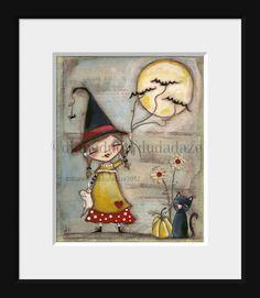Print of my Folk Art Childrens Halloween Witch by DUDADAZE on Etsy