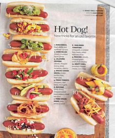 different hot dog menu | Hot Dog Toppings