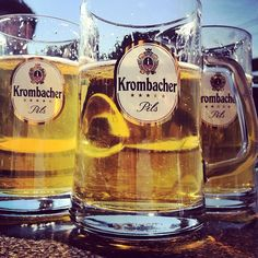 Pretty much the beer glasses around. Krombacher (German beer)  Ladies.. This is how you drink.