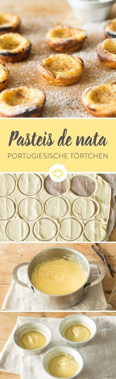 Pastéis de Nata - Portuguese custard tartlets- Pastéis de Nata – Portugiesische Puddingtörtchen For Pastéis de Nata, one thing is not enough! Sweet cream pudding in crispy puff pastry conjures up a smile on your face with a bite. Sweet Recipes, Snack Recipes, Dessert Recipes, Pudding Desserts, No Bake Desserts, Cupcakes, Fudge Caramel, Dessert Bowls, Bread Baking