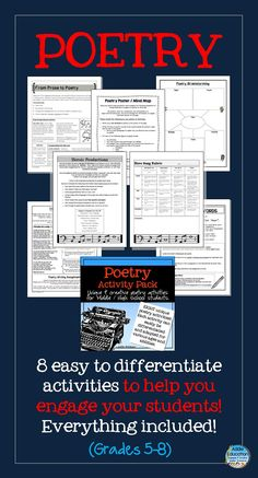 Poetry Pack - 8 engaging and creative activities to get your students writing and understanding poetry. ($)