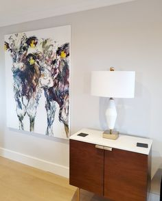 Una O'Grady in customer home Belgian Blue, Contemporary Frames, Amazing Paintings, Bold Fashion, Art Gallery, New Homes, Tapestry, Fine Art, The Originals