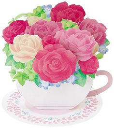 Flower in Tea Cup - Rose - Pop Up Greeting Card The beauty and intricate design of this card makes it a special greeting that can be displayed and enjoyed Truly collectible 3D Pop Up greeting cards. Pops up with built-in base for display purpose. Type of flowers: Rose, Nemophila, Hypericum.