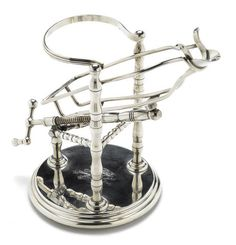 A French silver plate mechanical port decanting cradle Maker's mark: Bird/SOH
