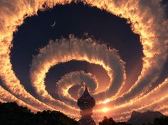 Cloud spiral in the sky. An Iridescent (Rainbow) Cloud in Himalaya. The phenomenon was observed early am October 18, 2009.