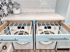 Pull-out drying racks!'ing this solution - - can find Laundry closet and more on our website.Pull-out drying racks!'ing this solution - - Laundry Room Drying Rack, Laundry Closet, Laundry Room Organization, Laundry In Bathroom, Laundry Rooms, Clothes Drying Racks, Small Laundry, Organizing, Laundry Shoot