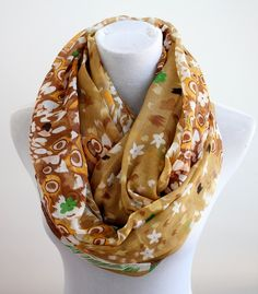 BROWN ABSTRACT FLOWER INFINITY SCARF