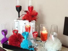 How to decorate glasses for Sweet fifteen party 2/3 - YouTube
