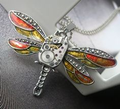 Steampunk Necklace  Jewelry Dragonfly by steampunkerstudio on Etsy